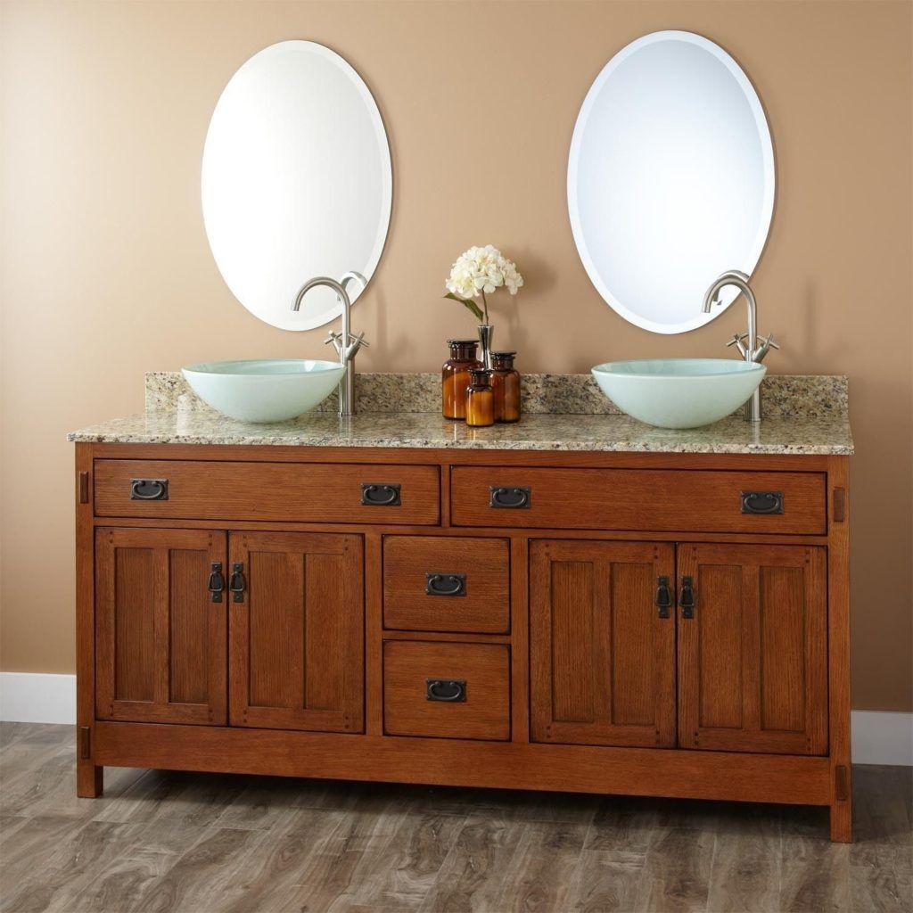 White Mission Style Bathroom Vanity