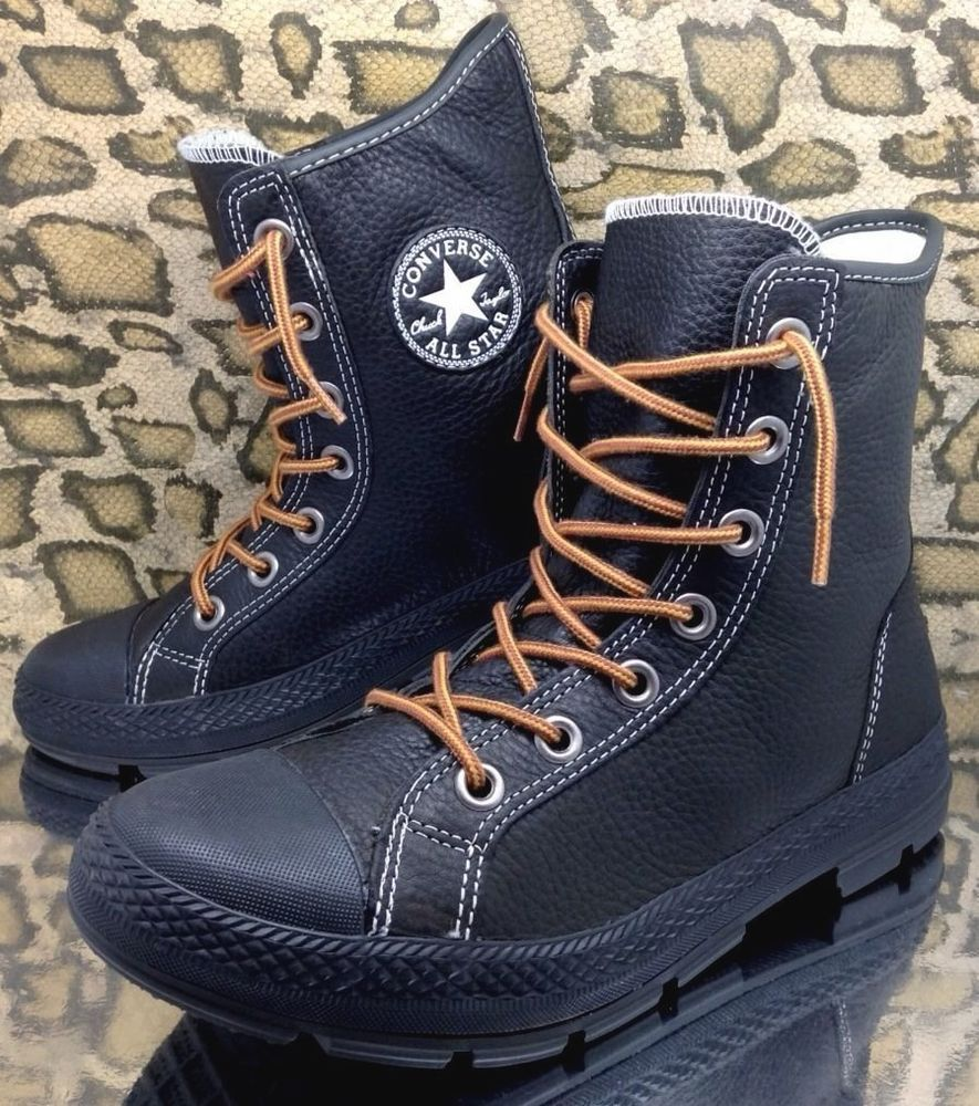 fc1d883b5347 Converse All Star Outsider Mens Leather High Top Boots Sz 8 Black VTG Army  41.5  Converse  CombatBoots
