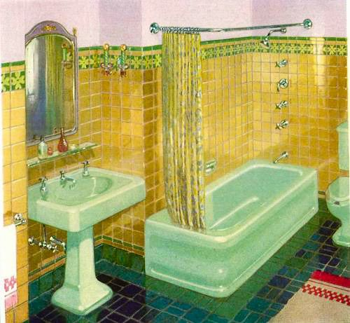 Photo of The first colors for bathroom fixtures – Kohler introduces sink, tub and toilet sets in six colors, 1927 – Retro Renovation