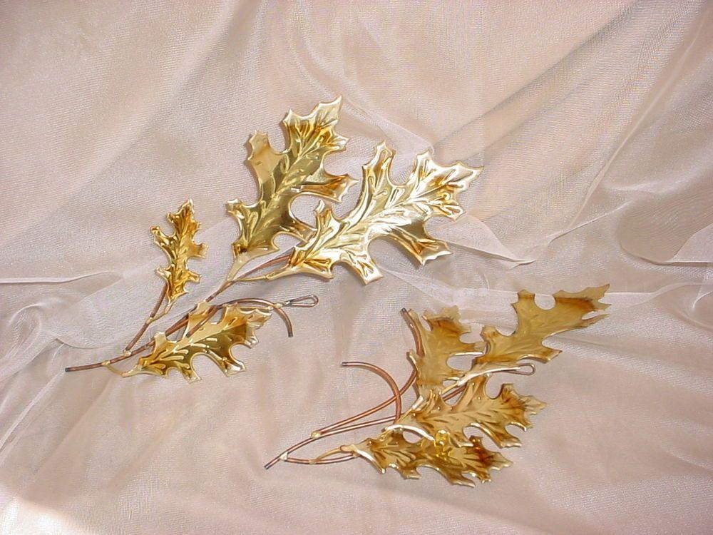 Vtg Copper and Brass tone Oak  Leaves Metal Sculpture Spray Wall Decor 2 pieces Seller florasgarden on ebay
