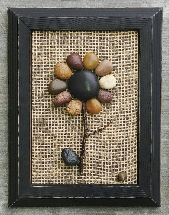 Pebble Art, Rock Art, Pebble Art Flowers, Rock Art Flowers (Set of 3 ...
