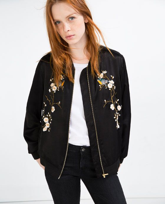 FLORAL EMBROIDERED BOMBER JACKET | LC Ladies SS17 | Pinterest ...