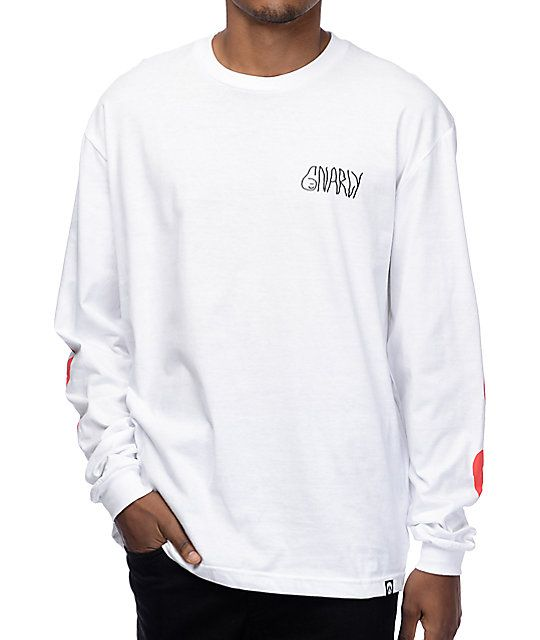 Gnarly Lovely White Long Sleeve T-Shirt | Long sleeve t shirts ...