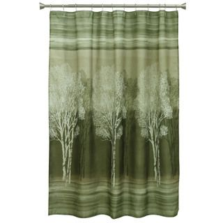 Forest Silhouette Fabric Shower Curtain Green Shower Curtains