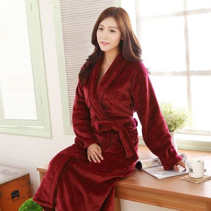 flannel nightgowns women coral fleece in autumn and winter plus long padded plus size robes pajamas - Flannel Nightgowns