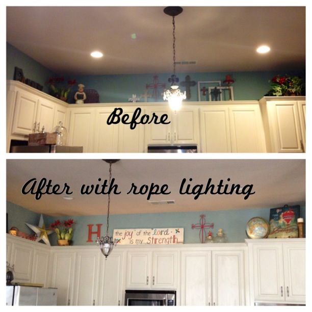 My Weekend Project Rope Lighting Above The Kitchen Cabinets