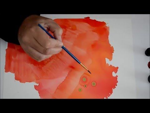 how to make a dot circles and create texture with alcohol ink on yupo short demo youtube