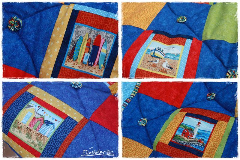 Decke Patchwork *Ferien am Meer* - Quilt maritim von FLINTHOLM   auf DaWanda.com