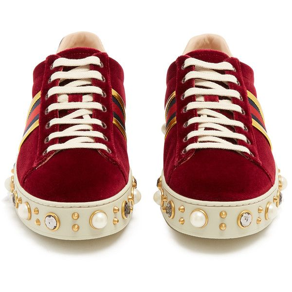 74d7579b989 Gucci New Ace faux-pearl embellished velvet trainers (13.071.235 IDR) ❤  liked on Polyvore featuring shoes
