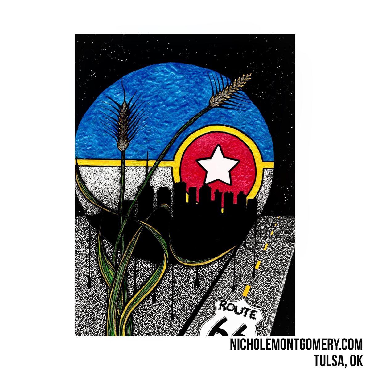 NicholeMontgomery.com • Artist: Nichole Montgomery Tulsa, OK  #tulsaartist #Oklahomaartist #NicholeMontgomery #artist #art  #drawing #artwork #painting #illustration #ink  #penandink #inkdrawing #inked #zentangle #art #tulsaart #citylife #oklahomaart #doodle #oklahoma #dots #oddart #floral #wheat #cityoftulsa #tulsaflag #city #route66 #harvest