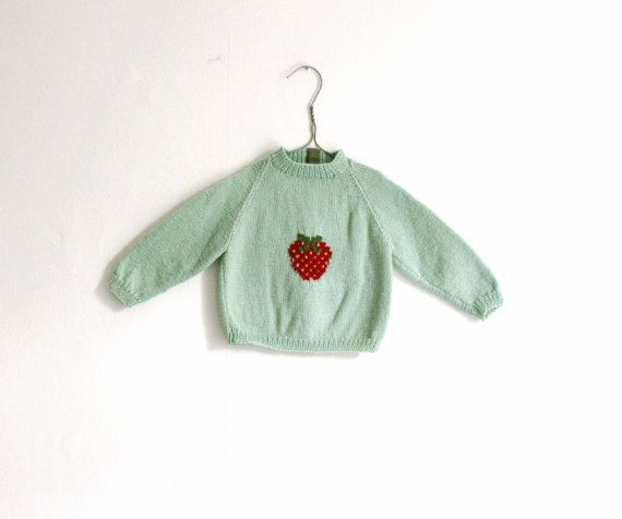 Sweater Mint with Strawberry baby by mrswoowoo on Etsy, £36.00
