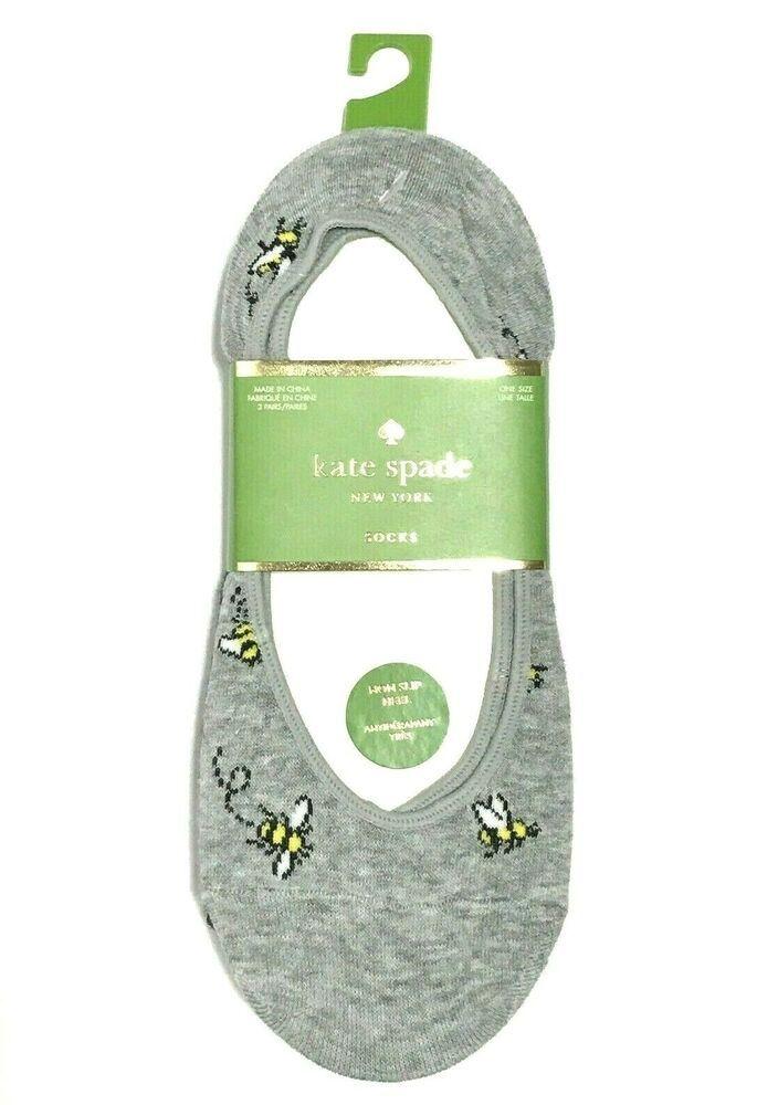 dcefa62d2e0a KATE SPADE NY A Buzz Non Slip Heel Foot Liner Socks 3-Pack Lt Grey ...