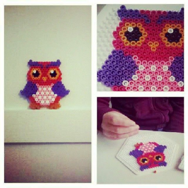 Owl hama beads by pryn_ook
