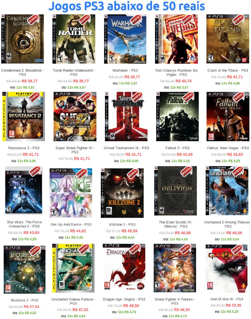 Jogos Tops para PS3, abaixo de 50 reais! - Fgame.com.br