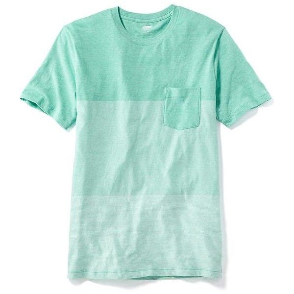 abdcad043de Old Navy Striped Colorblock Pocket Tee For Men ( 15) ❤ liked on Polyvore  featuring men s fashion