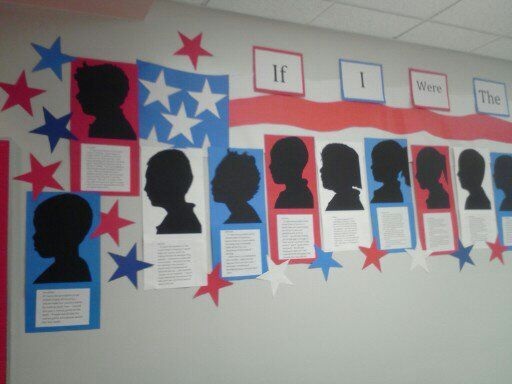 If I were president...make silhouettes of children on black construction paper.  Have the children write what they would do if they were president. Once the project was completed, I laminated the project for the children.