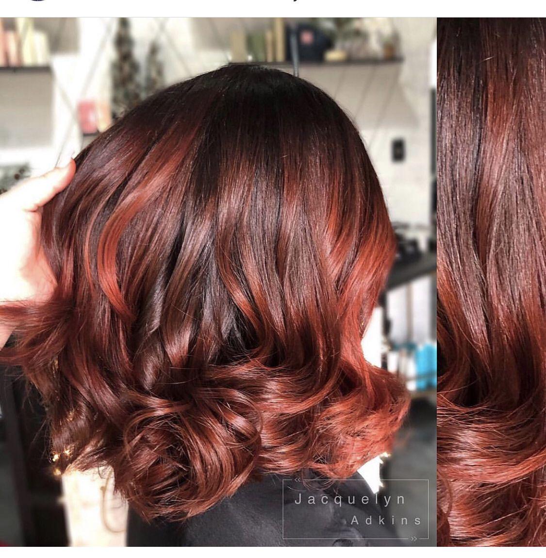 Follow Me On Instagram Unevneib Red Hair Short Red Hair Wavy Hair Curly Hair Wand Curls Hand Painted Hair Balayage Short Red Hair Dark Auburn Hair Hair Styles