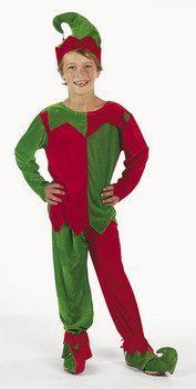 """Velour Elf Child's Costume Set . $19.99. Great value. Fun for holiday parties, Christmas, school plays. Red and green velour fabric. Festive velour elf costume for children. Set includes tunic, pants, 20"""" circumference hat and elf shoe covers. Velour Elf Child Costume. Includes tunic, pants, 20"""" circ. hat and shoe covers with jingle bells. Fits sizes 4 - 8. Imported."""
