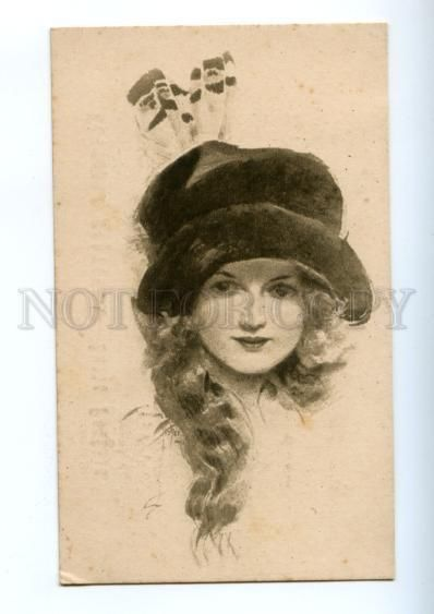 177379 BELLE in Hat by FISHER Vintage E.K. Russian Sepia PC