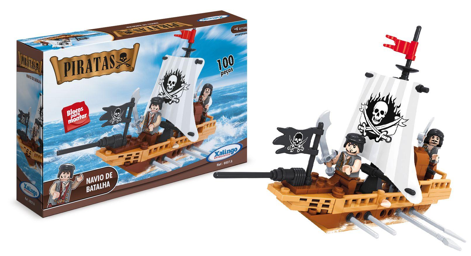 0507 6 Blocos De Encaixe Piratas Navio De Batalha Contem 100