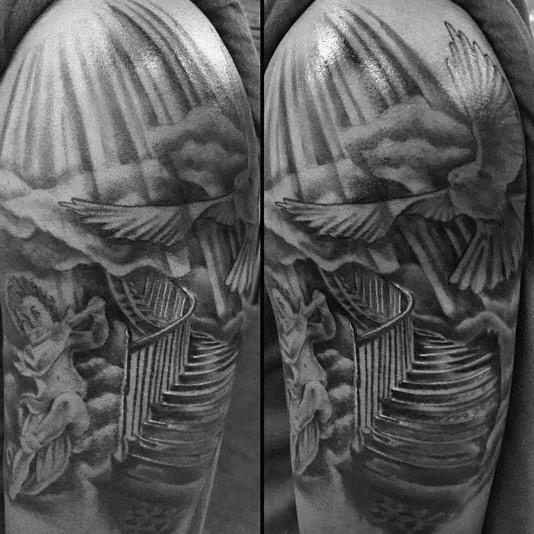 Heaven Tattoos On Arm 50 heaven tattoos for men - higher ...