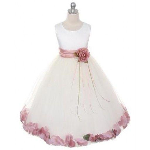 Ivory satin with dusky pink petals and sash dress ivory satin and ivory satin petals dress with dusky pink sash mightylinksfo