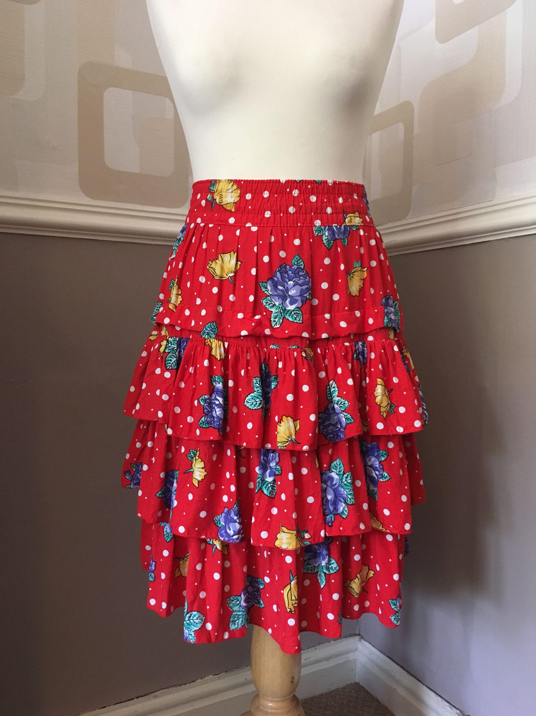 97d0ee96ea Vintage 80's RaRa skirt, retro ruffled frills, 1980's red floral polka dot,  elastic waist, 3 tiered rah-rah above the knee by TheVintageFlea29 on Etsy
