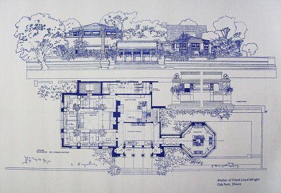 Frank Lloyd Wright Atelier Blueprint Falling Water Frank Lloyd Wright Frank Lloyd Wright Homes Frank Lloyd Wright Design