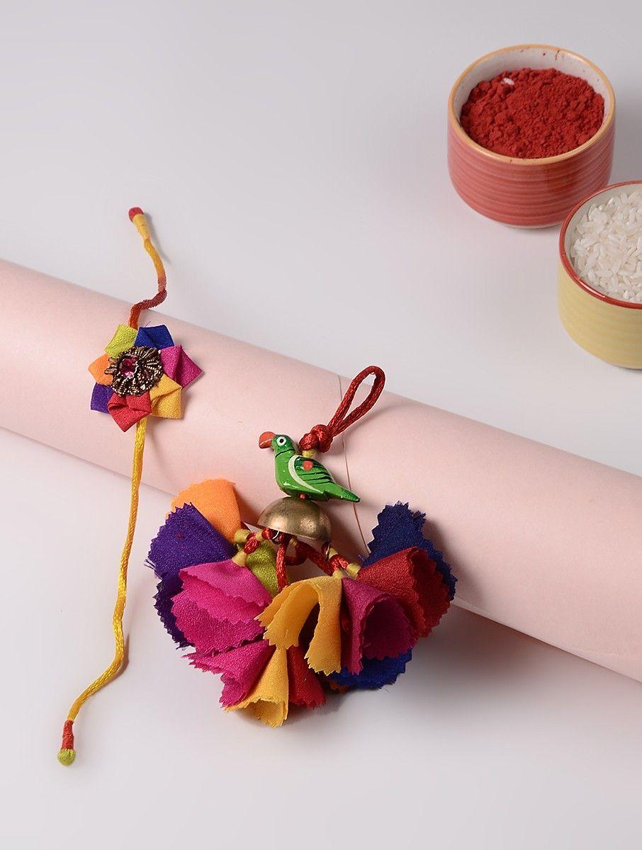 Buy multicolor multicolored handmade croma silk floral rakhi threads