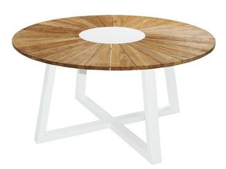 Round aluminium and wood garden table BAIA | Round table - MAMAGREEN ...