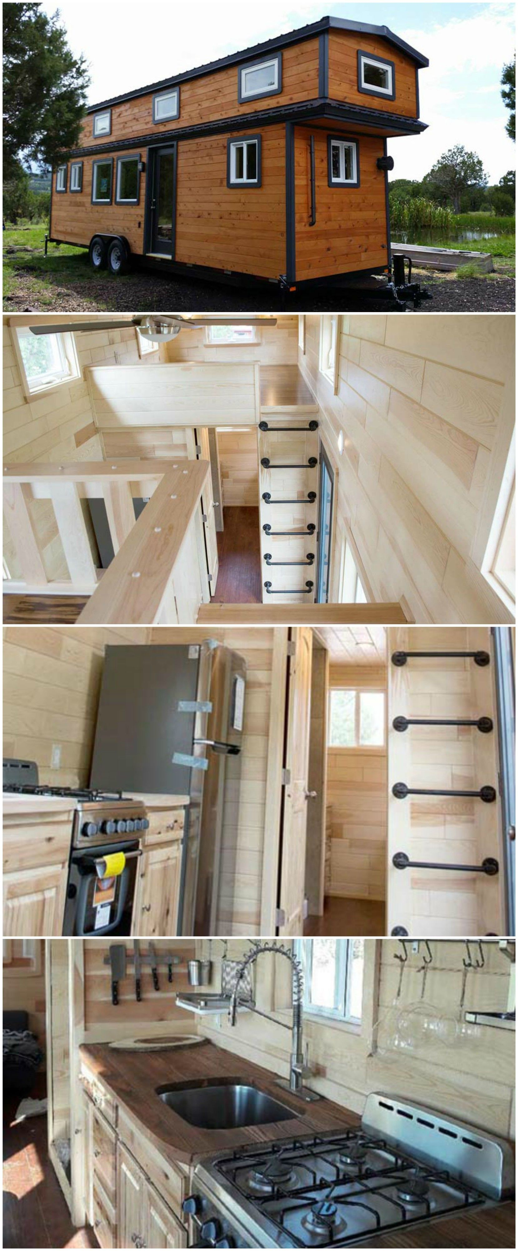 Elegant Custom 30u2032 Is A Lovely Tiny House Built By Tiny Treasure Homes. The Exterior  Has Natural Wood Siding With Black Painted Trim. A Full Light Front Door  And ...