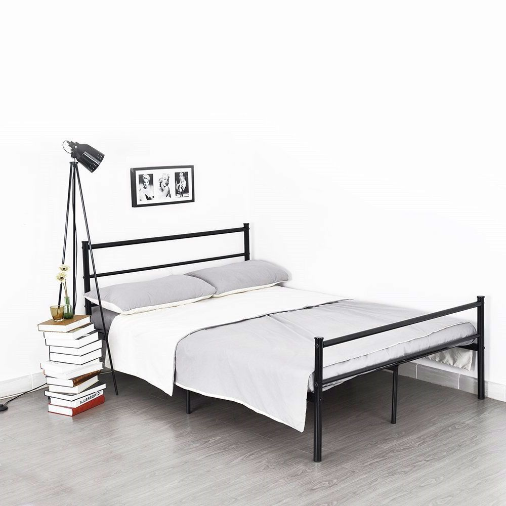 full size modern black metal platform bed frame with headboard and
