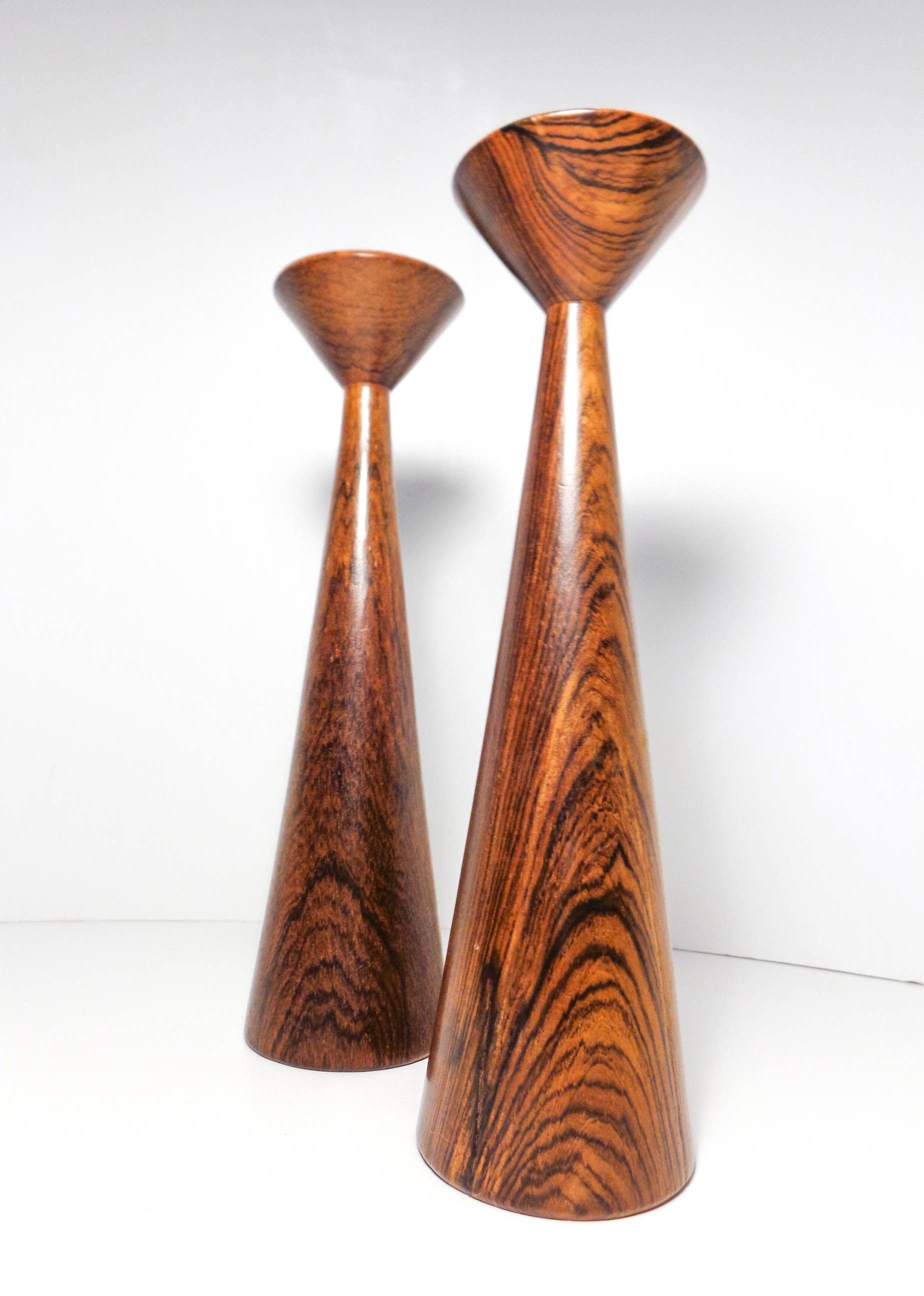Brazilian Rosewood Candlesticks With Original Stickers On The Bottom (Casa