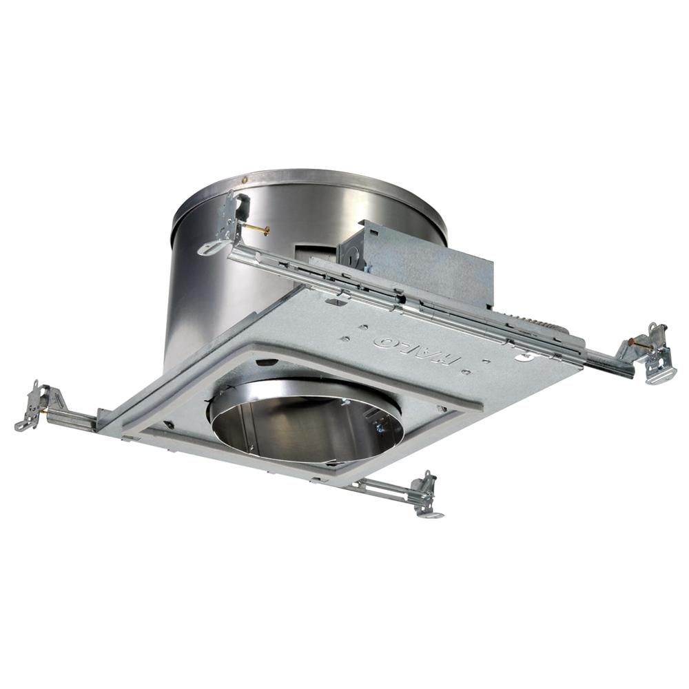 Halo H47 6 In Aluminum Recessed Lighting Housing For New Construction Sloped Ceiling Insulation Contact Air Tite H47icat The Home Depot Recessed Lighting Sloped Ceiling Ceiling Installation