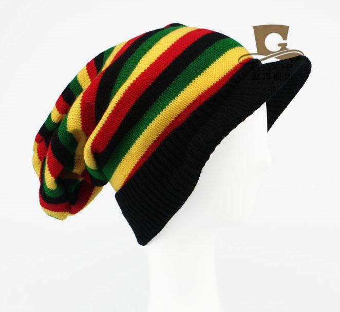 Click to Buy << Jamaican Reggae visor Rasta hat slouchy baggy ...