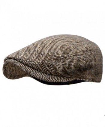 f5299be2d8354 Herringbone Ivy Hat Wool Stripe Gatsby Cap Golf Driving Flat Cabbie Newsboy  - Color 1-brown - CF186XZ8ONG