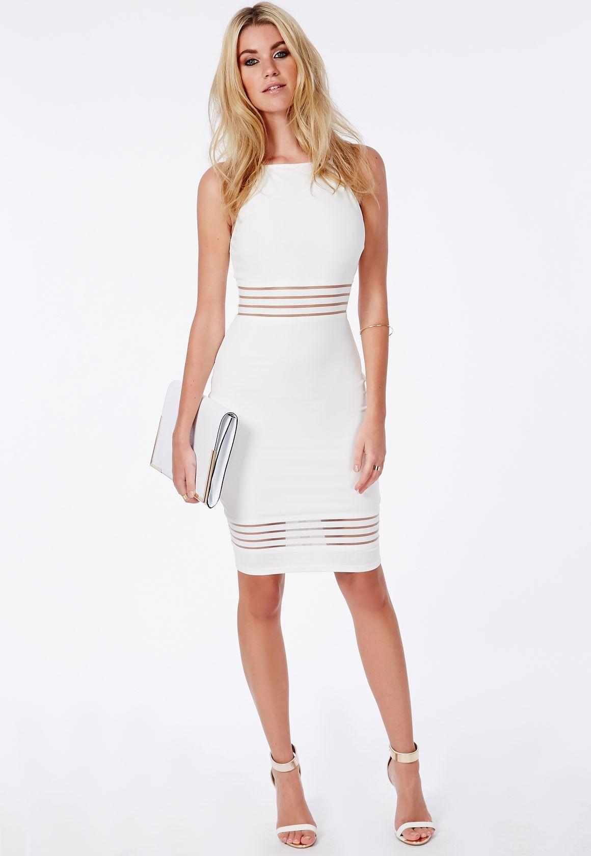 11c5312fd885 Missguided - Strappy Mesh Detail Midi Dress White