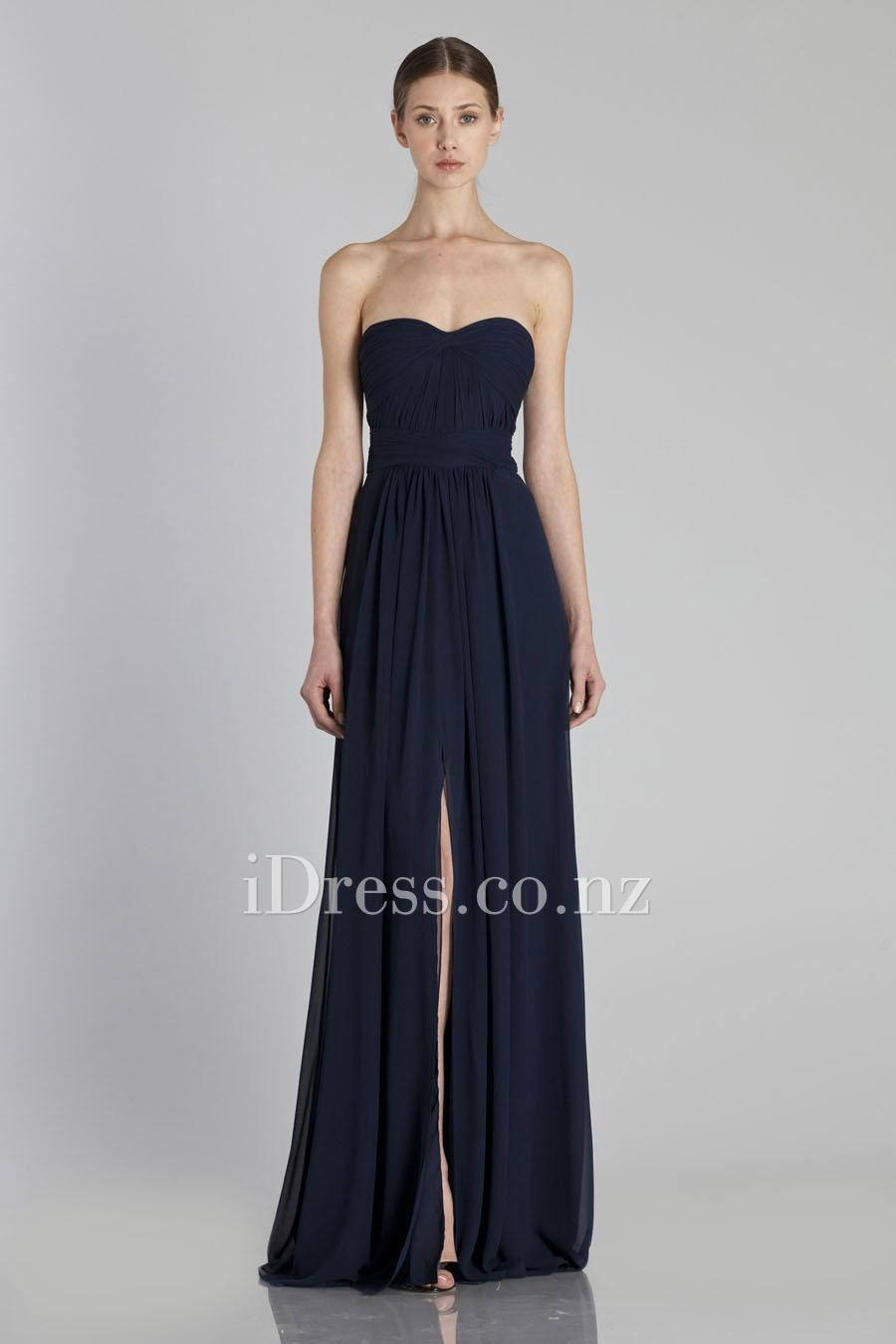 strapless a-line long flowy chiffon front slit bridesmaid dress ...