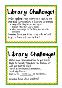 library challenge cards  library lesson plans school