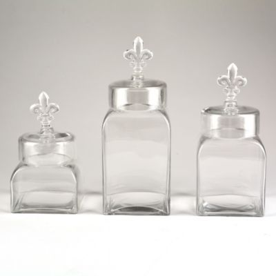 de lis canisters for the kitchen glass fleur de lis canisters set of 3 fleur de lis