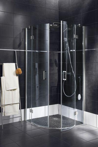 6993291ba18bf9 Cabine de douche d angle arrondie Palace, fabriquée en France. Composée de  deux