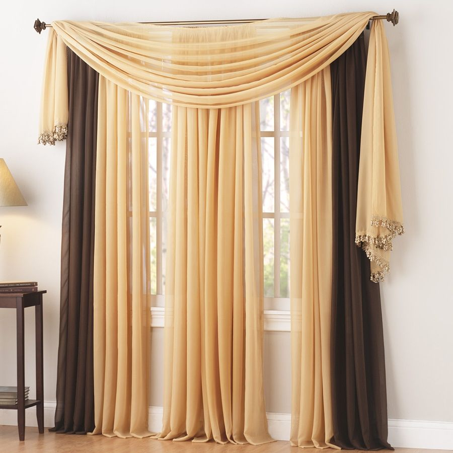 Corona Curtain Savannah Sheer Panel Fringe trim on end of scarf ...