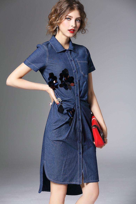 ชุดกางเกงยีนส์ 2016 ในช่วงฤดูร้อนเสื้อชุดใหม่บางจีบกระโปรงลูกปัดชิ้นแขนสั้นผ้ายีนส์กระโปรง -tmall.com คม