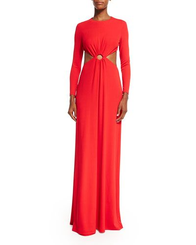 Long-Sleeve Cutout Gown, Scarlet