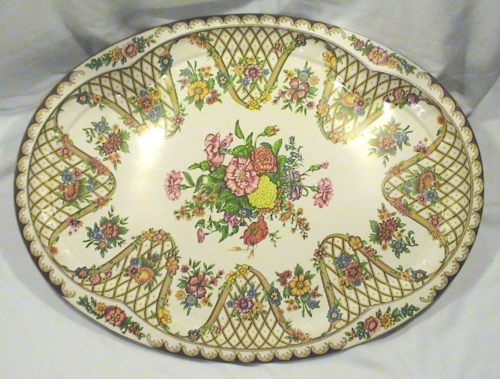 Daher Decorated Ware Tray Made In England Vintage Tin Daher Decorated Ware Floral Design Oval Serving Tray
