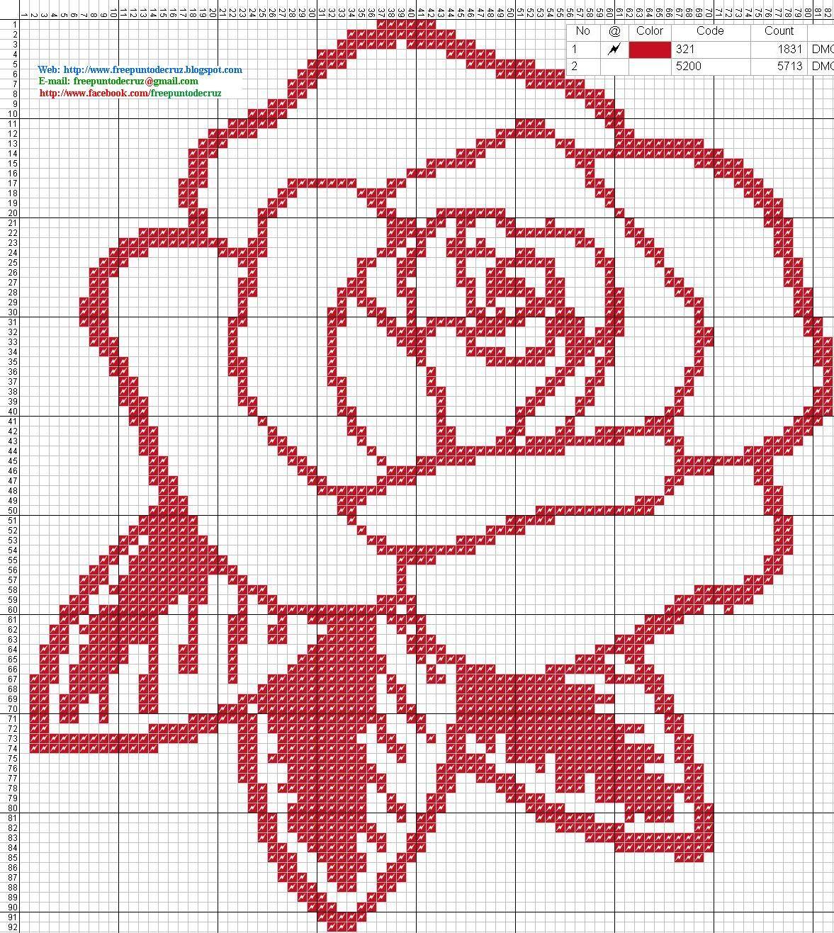 Rosa roja - Patron punto de cruz | Punto cruz | Pinterest | Stitch ...