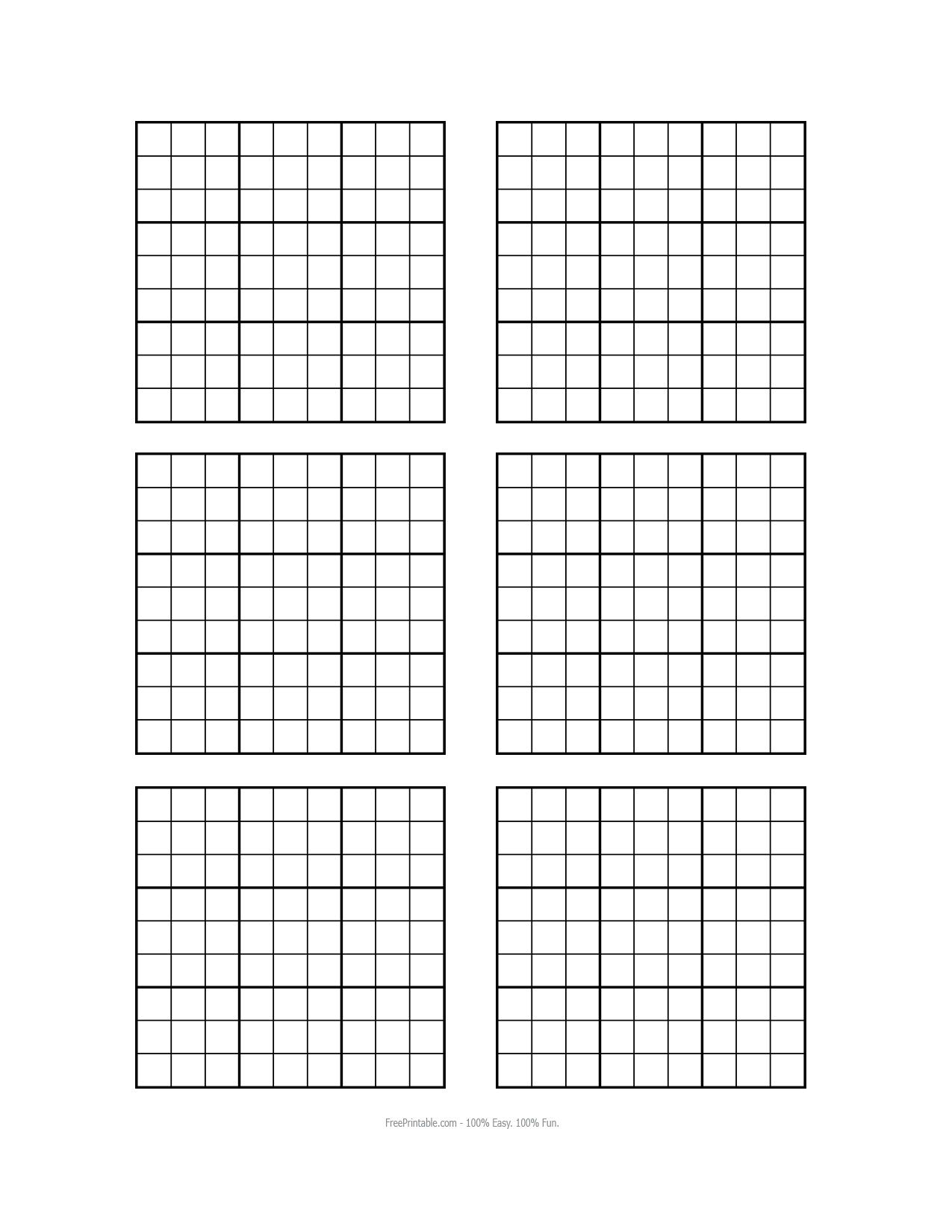 Printable Blank Sudoku Worksheets