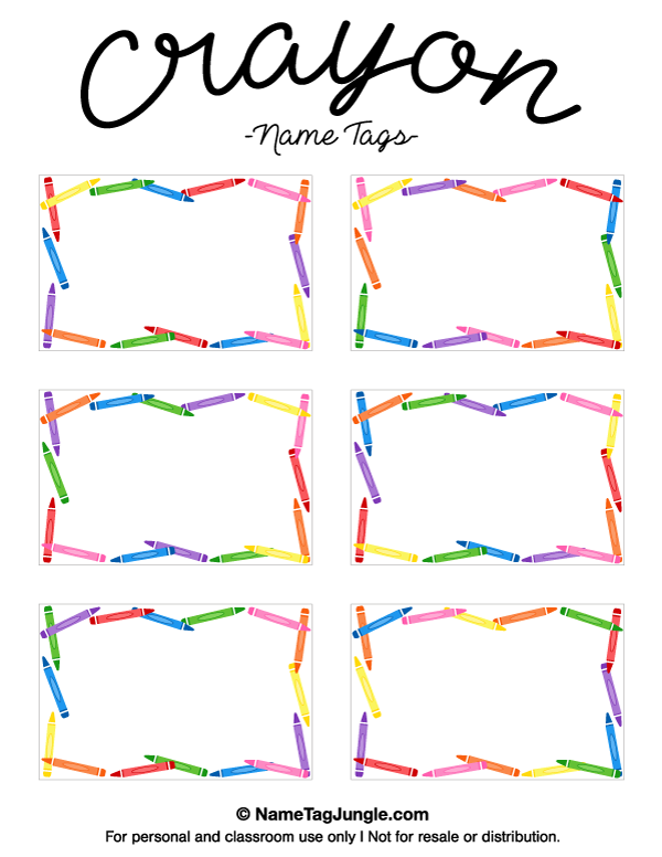Free printable crayon name tags the template can also be for Preschool name tag templates