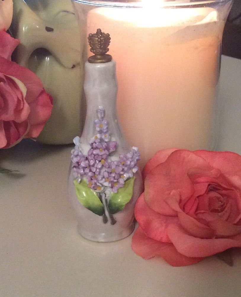 Antique Perfume Bottle German Figural Lilac Flower Crown Top Purple Shafer Vader Shakerstyle Germany Flacons De Parfum Flacons Crown