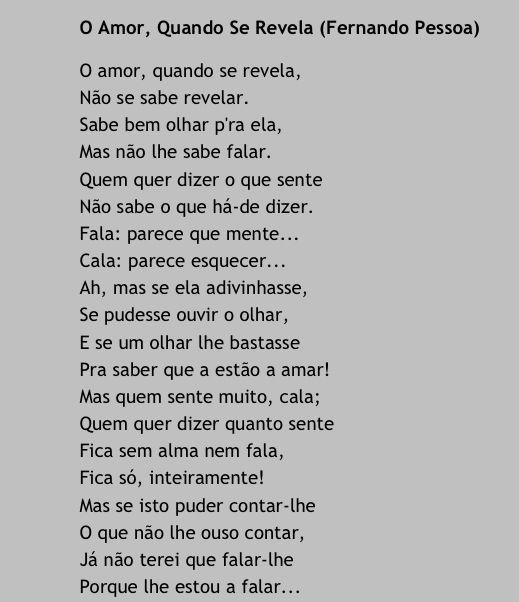 O Amor Quando Se Revela Fernando Pessoa Fernando Pessoa Frases